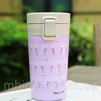 Термокружка Treein Art 280мл Фламинго Purple, фото 2