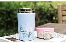 Термокружка Treein Art 280мл Фламинго Light Blue, фото 3