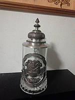 Коллекционный пивной бокал декорированный оловом Германия