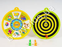 Дартс (пластик,картон), магнит, двухсторонний, 3 дротика, 2 вида, в кульке