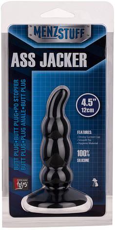Анальная пробка Menz Stuff Ass Jacker ребристая, черная, фото 2