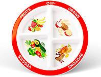 Детская/взрослая порционная тарелка для правильного питания с 4 секциями
