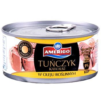 Тунец кусочками в растительном масле Tunczyk kawalki Amerigo  170г Польша