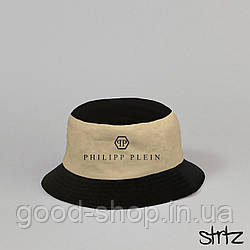Панама Philipp Plein черного и бежевого цвета (люкс копия)