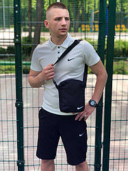 Мужской комплект шорты поло и барсетка Nike серого и синего цвета (люкс копия)
