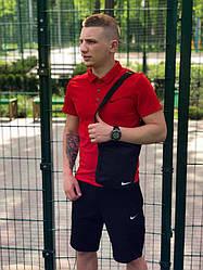 Мужской комплект шорты поло и барсетка Nike красного и черного цвета (люкс копия)