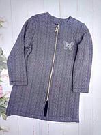 Кардиганподростковыйдля девочки 9-11 лет, серый