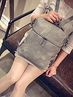Рюкзак женский сумка кожзам с заклепками Vanesa Серый, фото 1