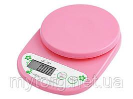 Весы кухонные QZ-161, 5кг (1г)  Розовый