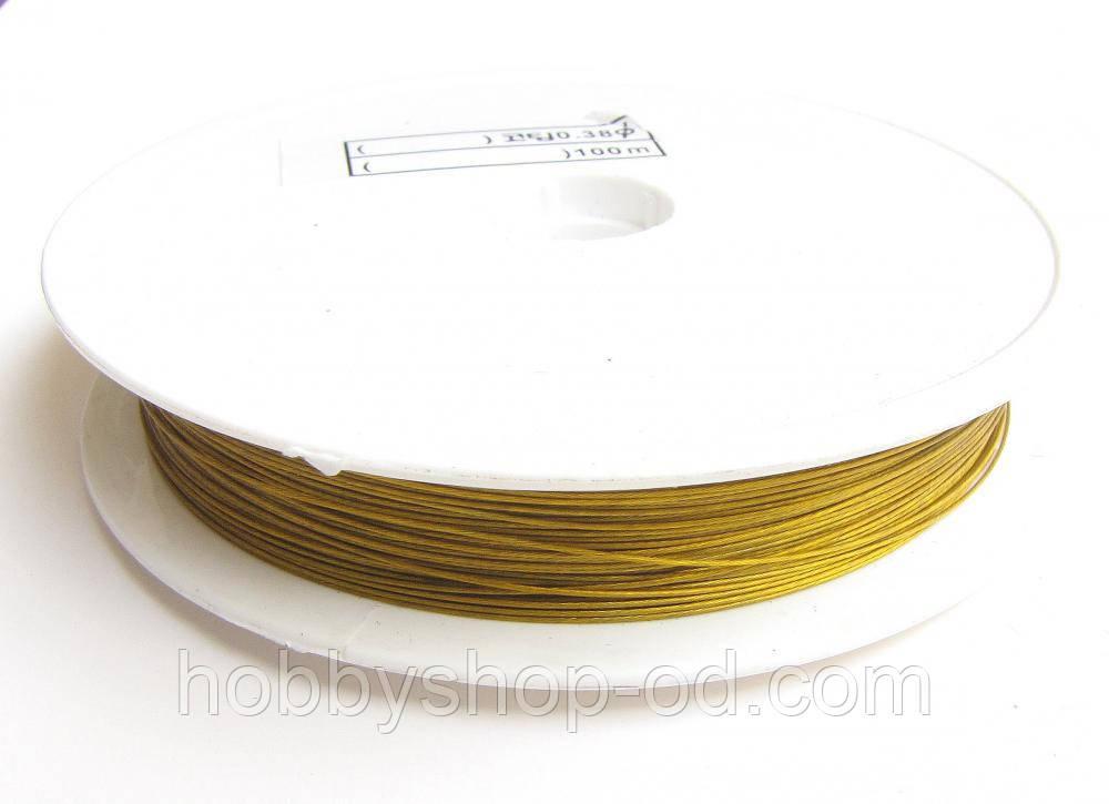 Ланка (ювелирный тросик) диам. 0,38 мм цвет золото (10 шт)