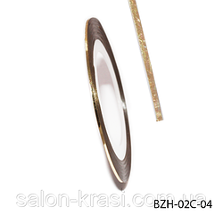 BZH-02C-04 Самоклеящаяся лента для дизайна ногтей (0.8 мм) Цвет: Light gold