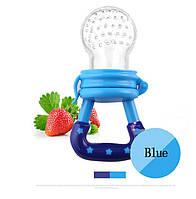 Детская силиконовая соска контейнер для введения прикорма - ниблер, синяя размер М, фото 1