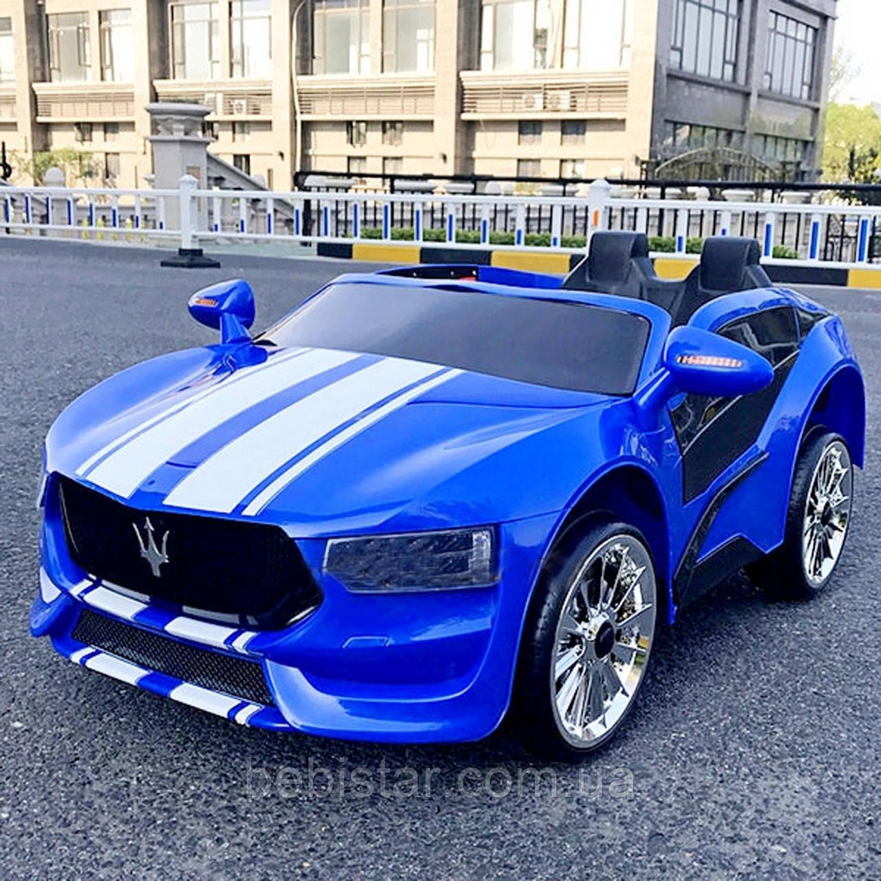 Электромобиль спорткар T-7624 BLUE для деток 3-8 лет с пультом мотор 2*20W с MP3
