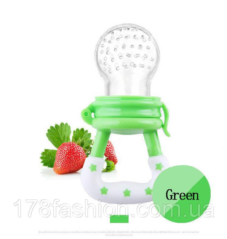 Детская силиконовая соска контейнер для введения прикорма - ниблер, зеленая размер S