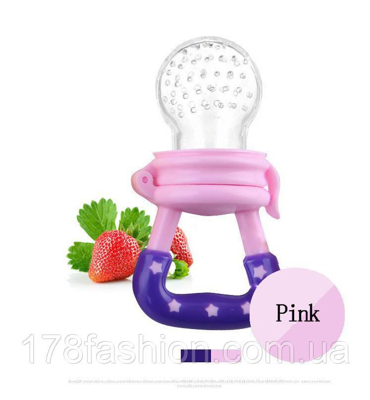 Детская силиконовая соска контейнер для введения прикорма - ниблер, розовая размер S