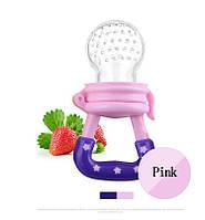 Детская силиконовая соска контейнер для введения прикорма - ниблер, розовая размер S, фото 1