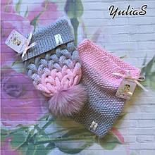 Зимний тёплый вязаный набор шапка с натуральным меховым бубоном снуд, хомут ручной работы.