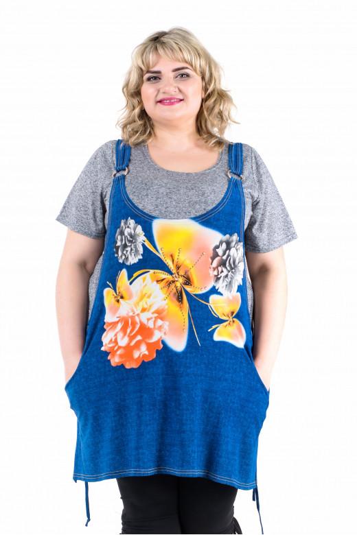 Комплект женский состоит из футболки и туники на бретельках (795Б)