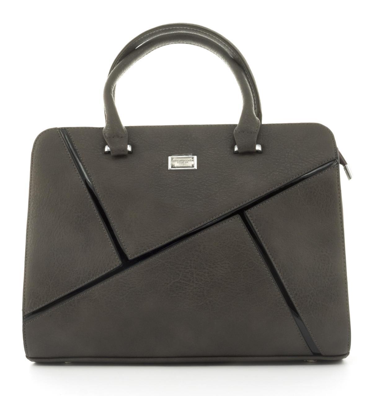 Оригинальная каркасная прочная элегантная женская сумка высокого качества ShengMa art. 881276 коричневая