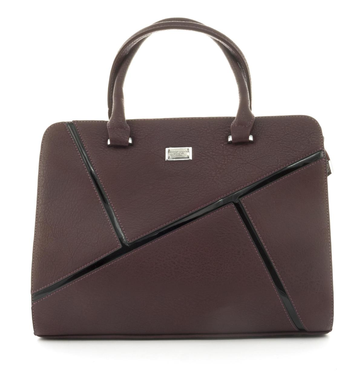 Оригинальная каркасная прочная элегантная женская сумка высокого качества ShengMa art. 881276 бордовая