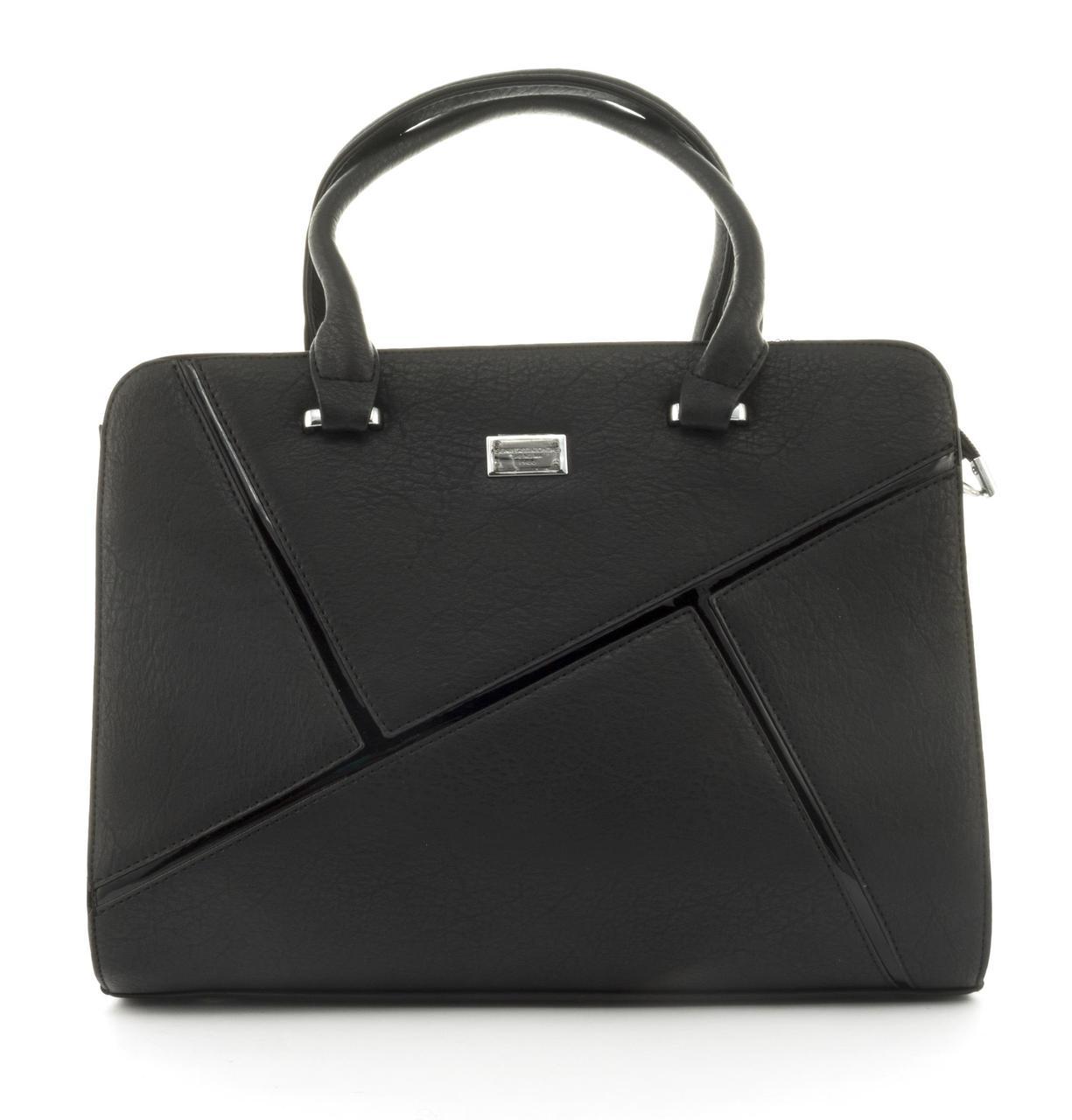 Оригинальная каркасная прочная элегантная женская сумка высокого качества ShengMa art. 881276 черная