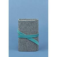 Фетровый женский блокнот (Софт-бук) 1.0 с кожаными бирюзовыми вставками, фото 1