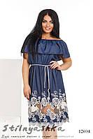 Джинсовое платье с вышивкой для полных , фото 1