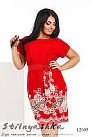 Нарядное платье с прошвой для полных красное, фото 1