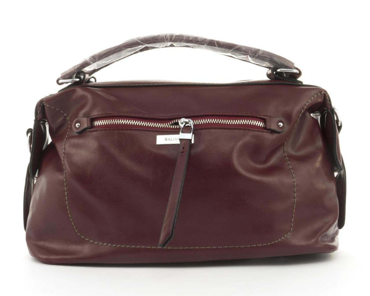 Стильная женская качественная сумка саквояж с мягкой эко кожи BALIVIYA art. 7305 бордовая