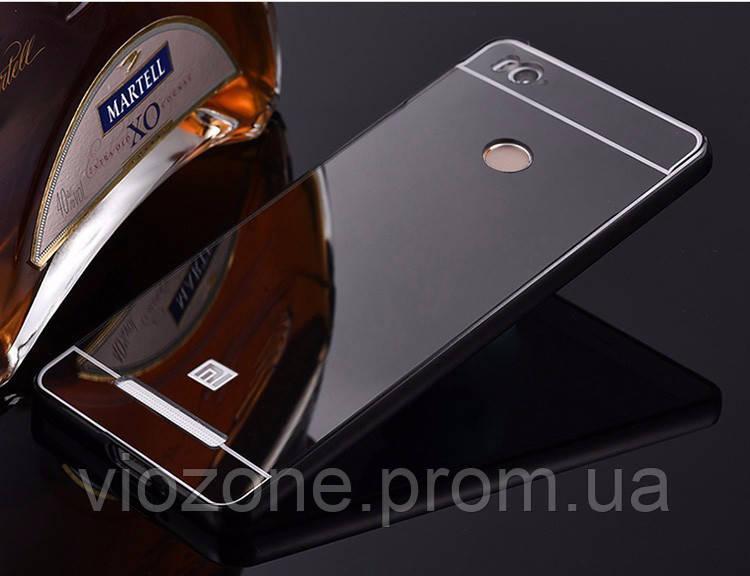 Зеркальный Чехол/Бампер для Xiaomi Redmi 4a Чёрный (Металлический)