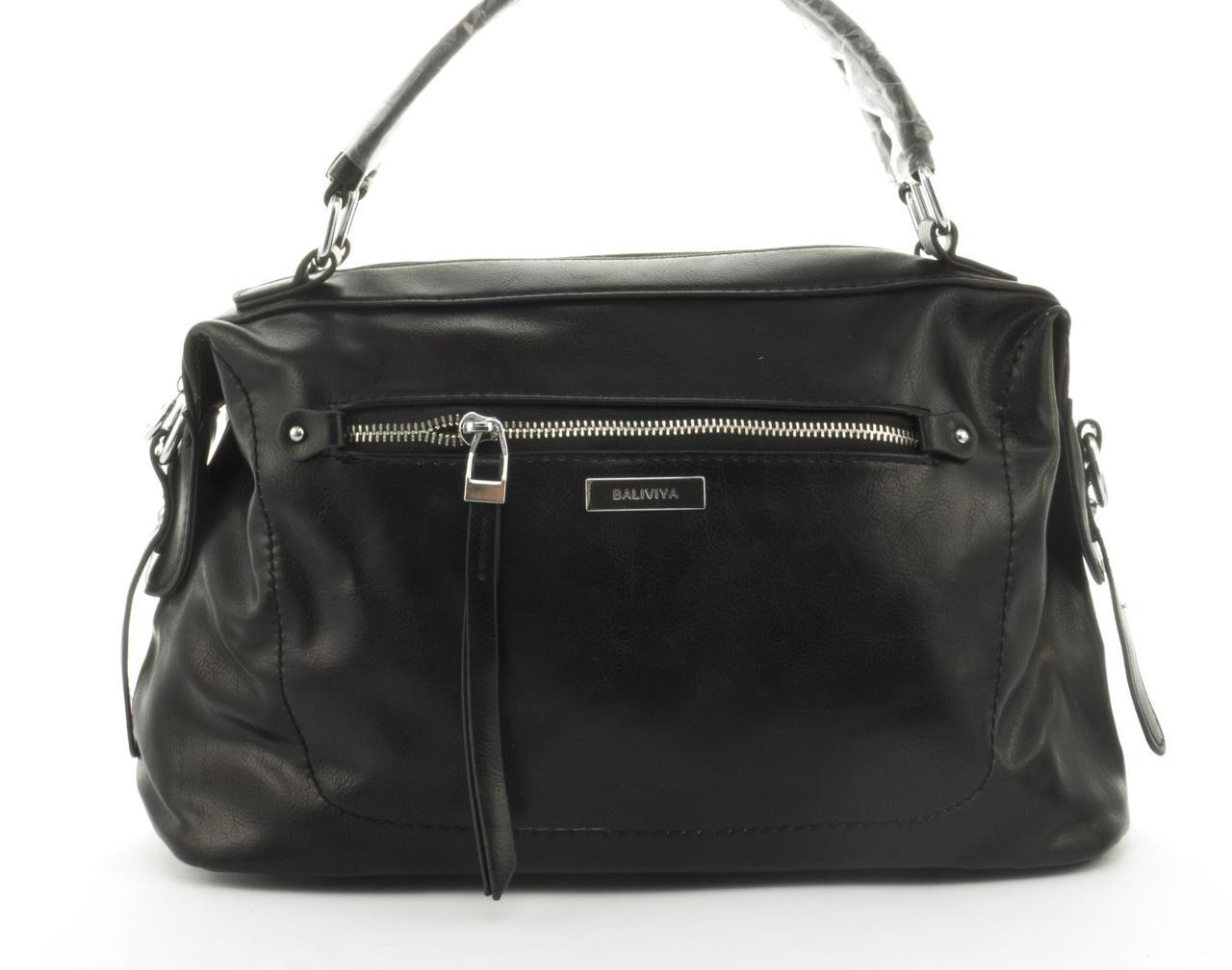 Стильная женская качественная сумка саквояж с мягкой эко кожи BALIVIYA art. 7305 черная