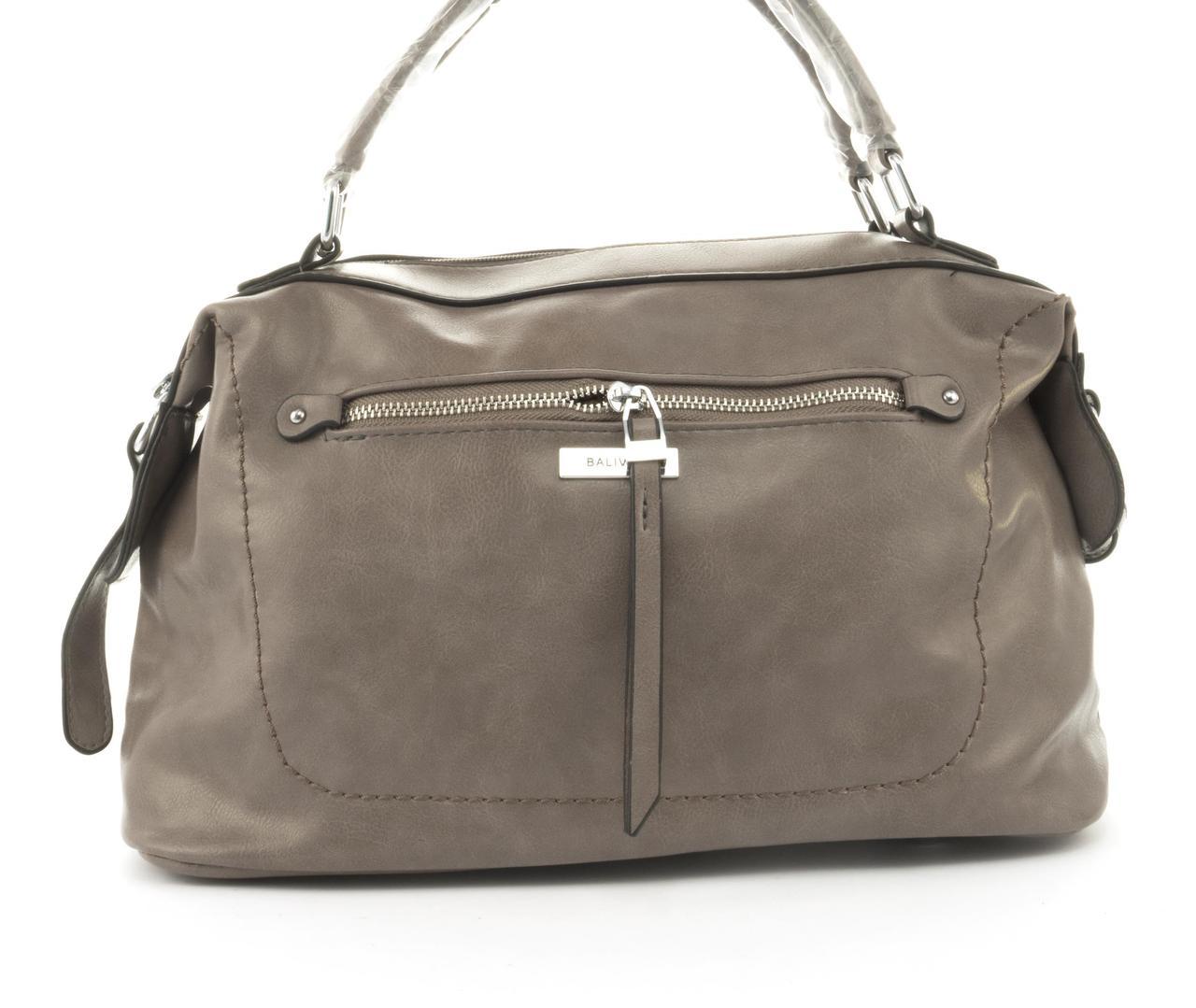 Стильная женская качественная сумка саквояж с мягкой эко кожи BALIVIYA art. 7305 кофе с молоком