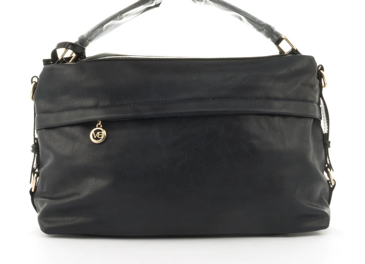 Стильная вместительная женская качественная сумка саквояж с мягкой эко кожи BALIVIYA art. 7348 темно синяя