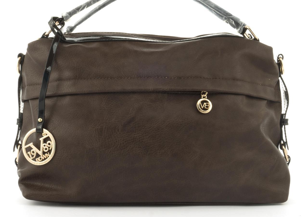 Стильная вместительная женская качественная сумка саквояж с мягкой эко кожи BALIVIYA art. 7348 коричневая