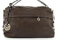 Стильная вместительная женская качественная сумка саквояж с мягкой эко кожи BALIVIYA art. 7348 коричневая, фото 1