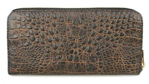 Стильный кошелек из натуральной кожи POOLPARTY Артикул: crocodile-wallet-brown коричневый
