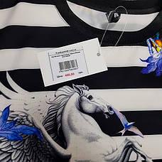 Футболка полосатая чёрно-белая - 532-80826, фото 2