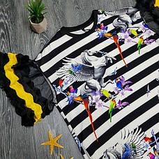 Футболка полосатая чёрно-белая - 532-80826, фото 3