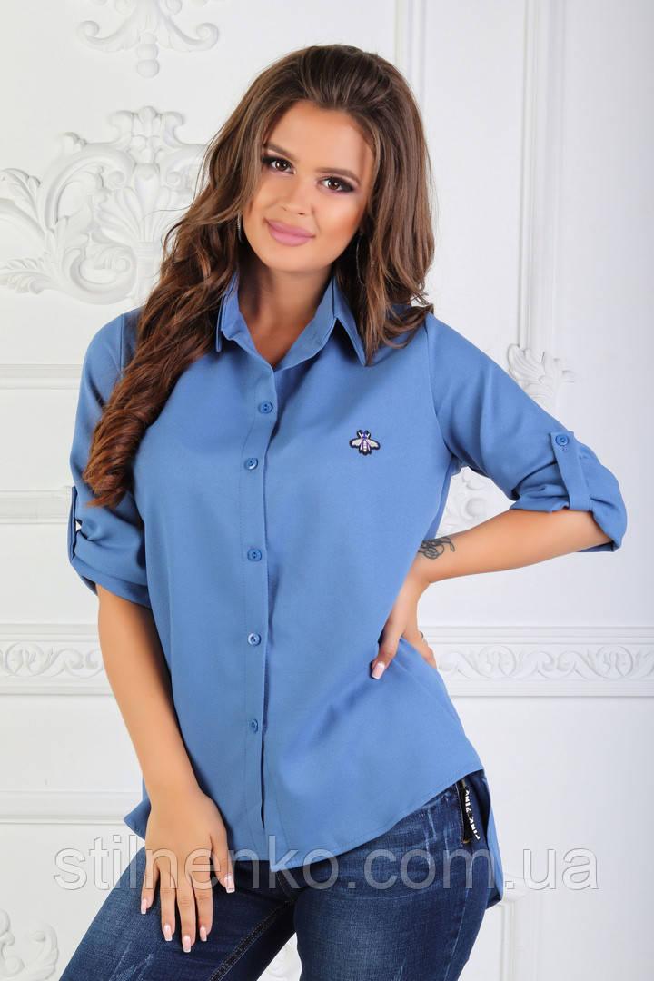 490ca309661 Женская рубашка с нашивкой(голубая)