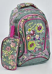 Детский школьный рюкзак 45х35х25см с ортопедической спинкой, 3 отделения, пенал, СЕРЫЙ