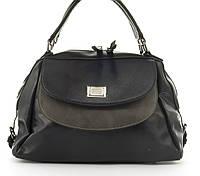 Стильная вместительная женская качественная сумка саквояж с мягкой эко кожи  BALIVIYA art. 7287 темно синяя 704e63b4cca91