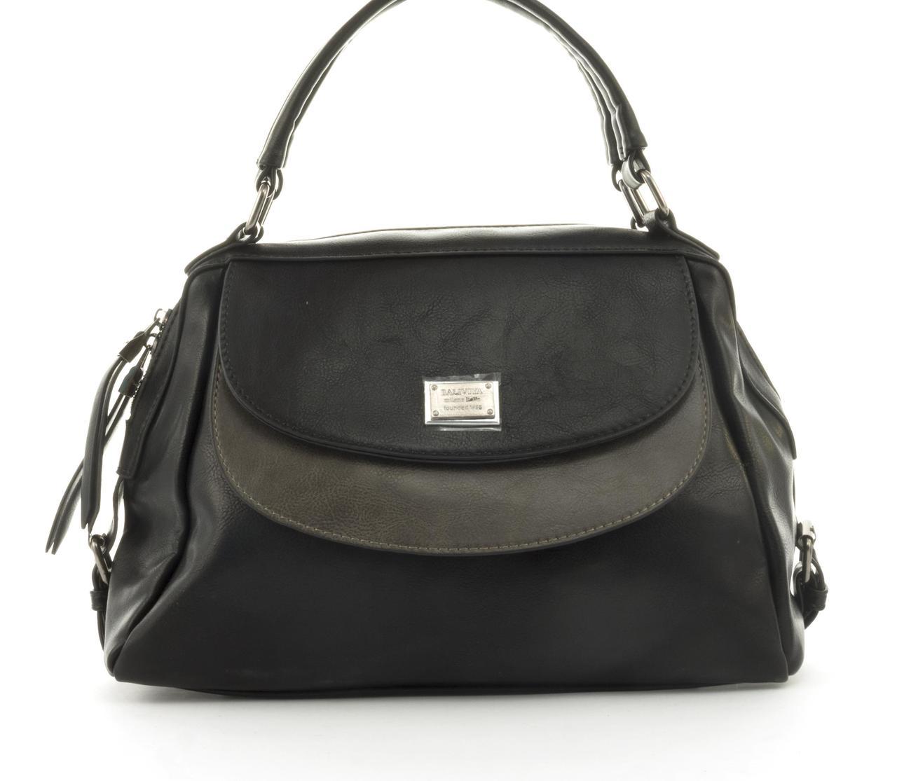 Стильная вместительная женская качественная сумка саквояж с мягкой эко кожи BALIVIYA art. 7287 черная