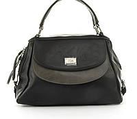 Стильная вместительная женская качественная сумка саквояж с мягкой эко кожи BALIVIYA art. 7287 черная, фото 1