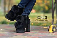 Ботинки с помпонами из натурального меха, фото 1