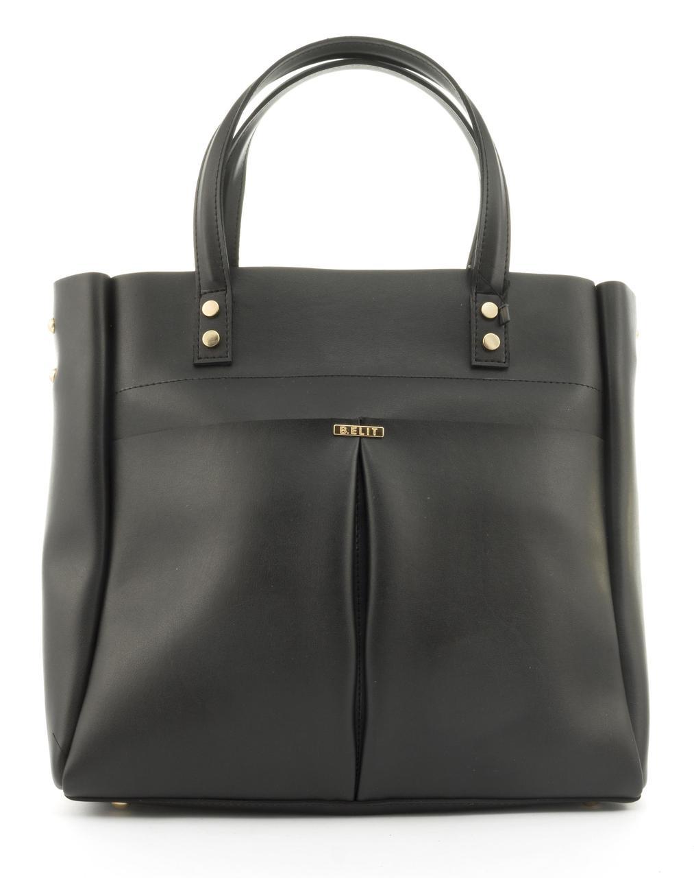 Оригинальная вместительная качественная сумка с эко кожи очень высокого качества B.Elite art. 08-30 черн/черн