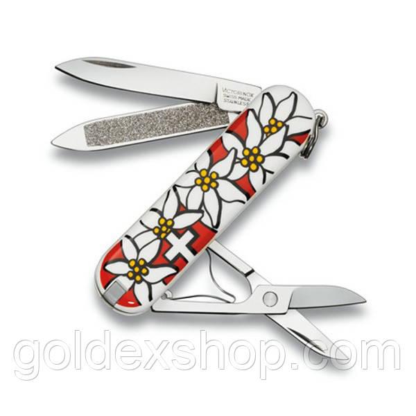 Нож Викторинокс Victorinox Мультитул CLASSIC EDELWEISS (58мм, 7 функций), белый 0.6203.840