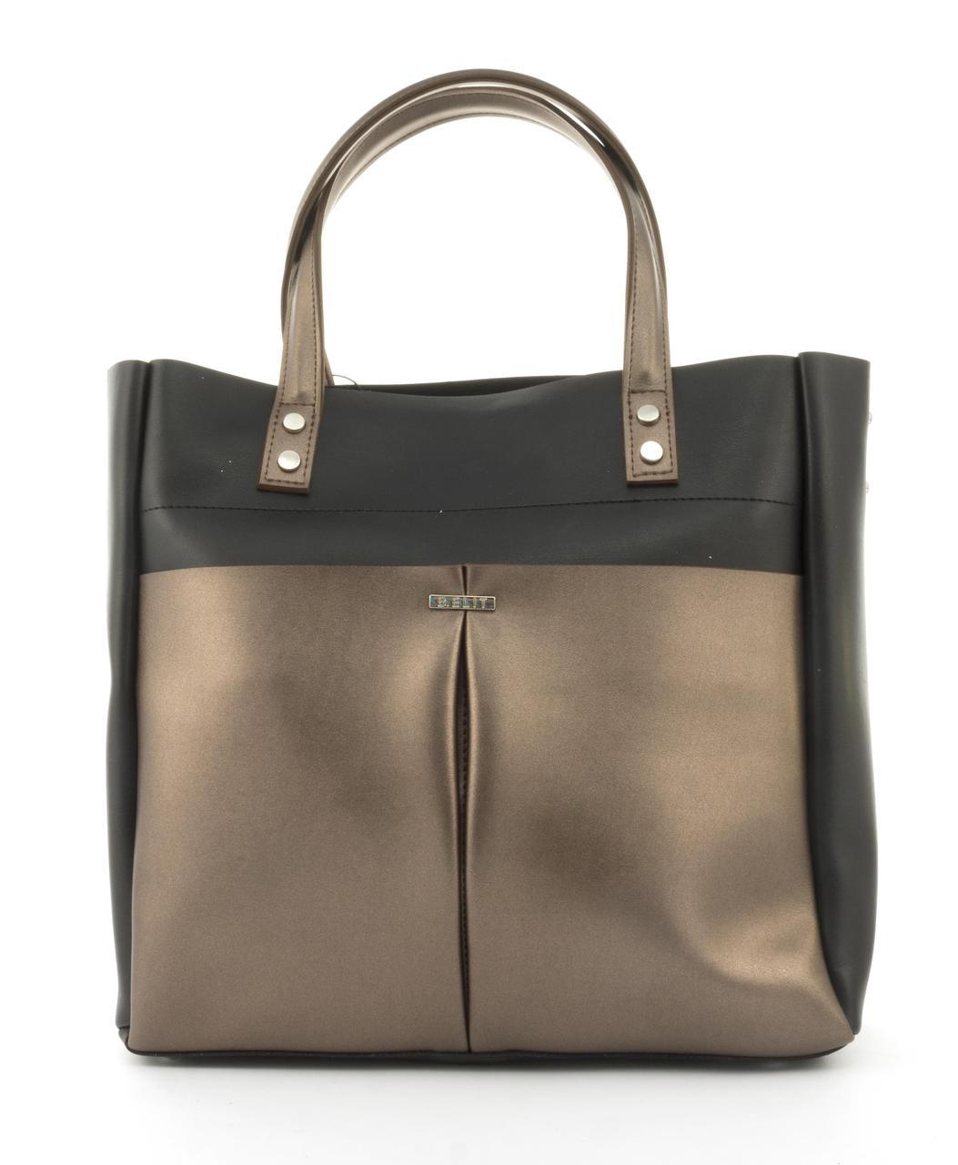 Оригинальная вместительная качественная сумка с эко кожи очень высокого качества B.Elite art. 08-30 черн/золот