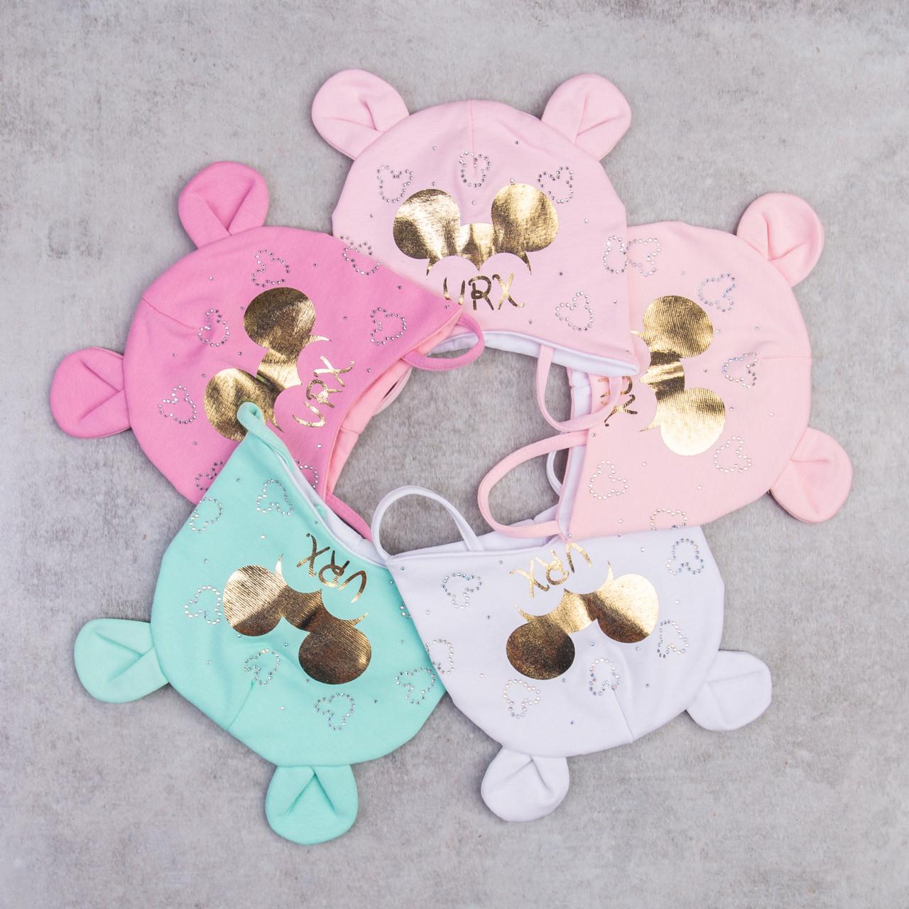 Хлопковая шапка для малышей грудничков на весну - VRX - Артикул 2283