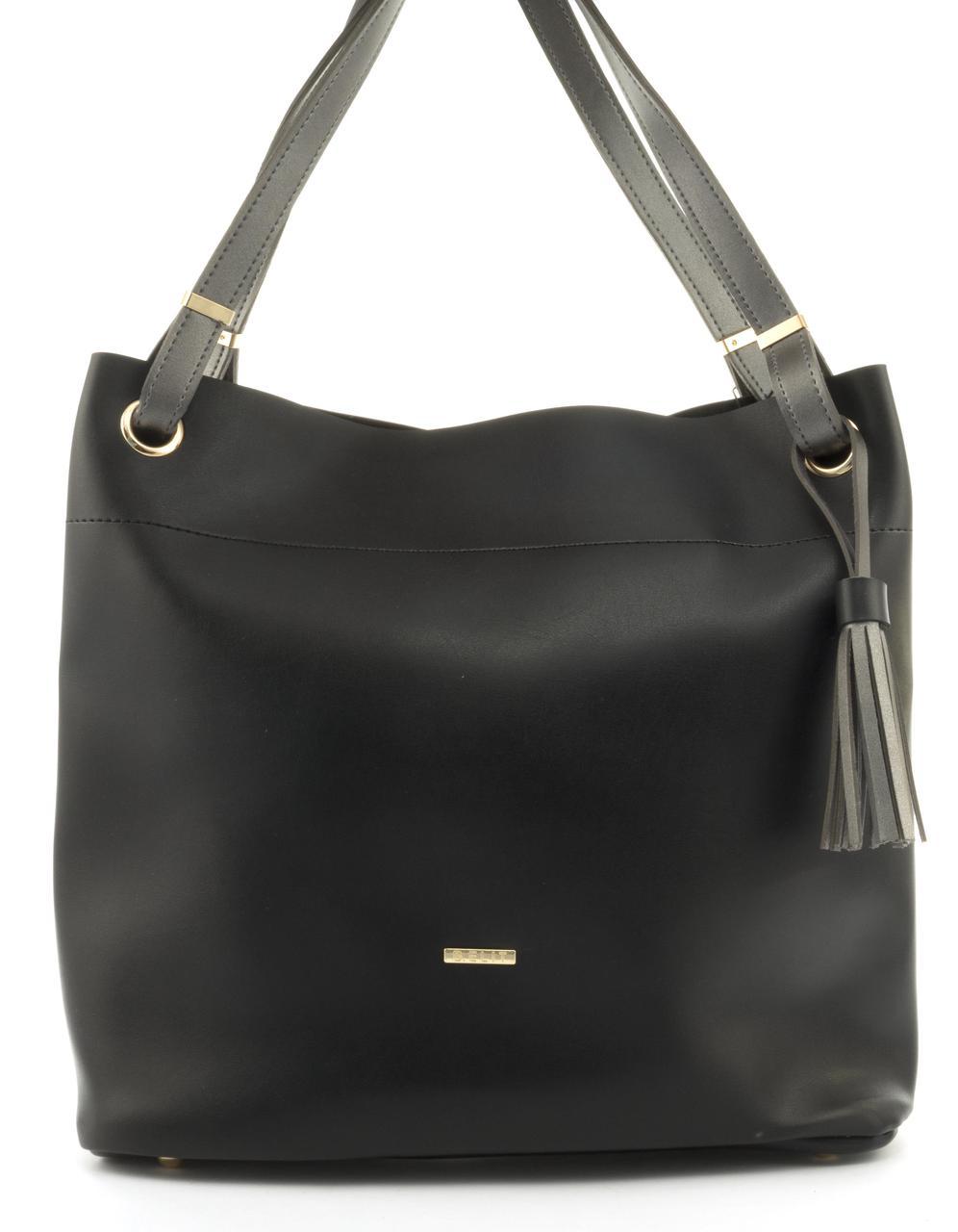 Оригинальная вместительная сумка высокого качества из эко кожи B.Elite art. 07-64 черная/серебро