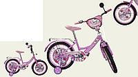 """Велосипед двухколесный 12 дюймов """"Hello Kitty"""" со звонком, зеркалом и страховочными колесами"""